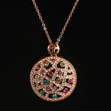 Damen Kette mit Anhänger Ornament Kristall Bunt 750er Rosegold vergoldet 50cm
