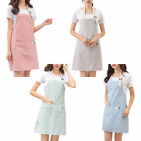 Women Cooking Kitchen Restaurant Chef Adjustable Bib Apron Dress with Pocket US