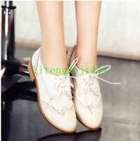 Vintage Women's Brogue Oxfords College Wing Tip Lace Up Low Heel Shoes US Size Y