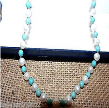 Genuine Fresh Water Cultured Pearls And Turquoise Necklace With Silk Cord
