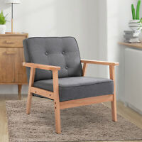 Wood Fabric Upholstered Mid-Century Modern Tufted Accent Arm Chair Grey