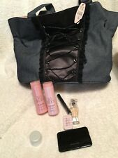 VICTORIA'S SECRET CORSET DENIM AND SATIN BAG WITH SAMPLE SIZE PRODUCTS