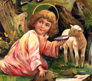 Antique Easter~ANGEL GIVES WATER TO LAMB~LITTLE WATERFALL~EAS Postcard~Germany
