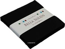 Bella Solids Black Moda Charm Pack 42 5 inch 100% Cotton Precut Quilt Squares