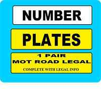REGISTRATION PLATES 1 PAIR SAME REG CAR NUMBER PLATES PLAIN NO BADGE  FREEPOST