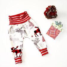 Women Fashion High Waist Casual Elastic Pants Christmas Family Match Trousers AU