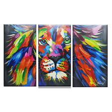 Oil Painting 100%Hand-painted Art decoration 3D Abstract Animal lion with frame