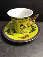 ByYedi Gold Gilt Green Porcelain BUTTERFLY Demitasse Cup Saucer-Gold Wing Handle