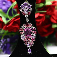 NATURAL PINK MYSTIC TOPAZ TOURMALINE AMETHYST & CZ PENDANT 925 STERLING SILVER