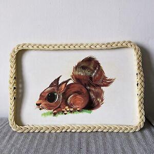 Vintage Decorative Tray 1970s Squirrel Kitsch Retro Plastic Weave Edge Tea Serve