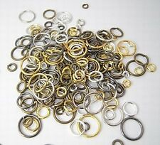 10 grams 100+ JUMP RING MIX~Brass,Pewter,Steel, Ass'td Size/Shape/Finish 2-18mm