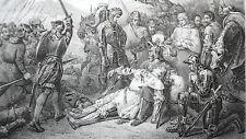 GRAVURE ANCIENNE 19e -  BATAILLE DE RAVENNE 12 AVRIL 1512