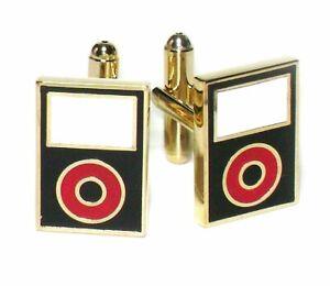 Gold-Tone Mens Cuff Links Black MP3 Player Cufflinks