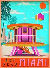 Art Deco Miami Beach Florida Sunny Day Retro Travel Wall Decor Art Poster Print