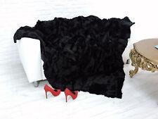 CUDDLY REAL  RABBIT SHEARED THROW  BLANKET RICH BLACK 220cm x 200cm, i067