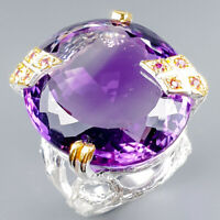Vintage50ct+ Natural Amethyst 925 Sterling Silver Ring Size 8/R124893