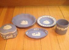 Lot 5 Pieces Wedgwood Jasperware Blue Pin Dish Open Dish Trinket Box Cup Ashtray