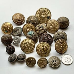 Mixed Lot Buttons Military Eagle Anchor Nautical Metal Vintage  ~ Lot of 23 Pcs