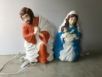 "VTG Grand Ventures Large 29"" Mary, Jesus & Joseph Nativity Blow Mold Set"