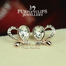 18CT Rose Gold Plated Butterfly Stud Earrings Made With WSWAROVSKI crystals