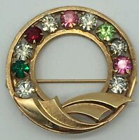 Vintage Atamore 1/20 12K Gold Filled Multicolored Rhinestone Round Wreath Brooch