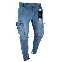 Men's Fashion Denim Jean Long Trouser Slim Fit Side Pocket Cargo Pants Ankle Zip
