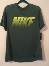 Nike Men Pro Dri Fit Fitted Performance T-shirt Size L Polyester Green