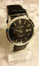 Eclipse By ARMITRON Mens Round Black Watch Stainless Steel Leather Band Date