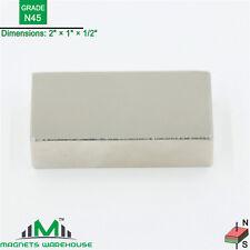 "1-count neodymium N45 rare earth NdFeb block magnets 2 x 1 x 1/2"" (true N45)"