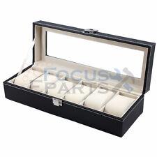 6 Grids Watch Box Glass Top Display Jewelry Organizer Storage Leather Case