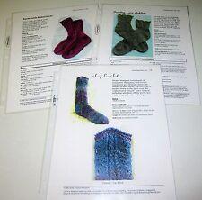 Lot of 3 Heartstrings Sock Knitting Yarn Patterns
