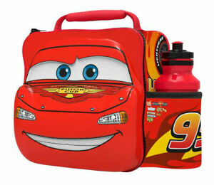 3D Cars Lunch Bag with Bottle Kids Food Drink Storage School Lunchbox