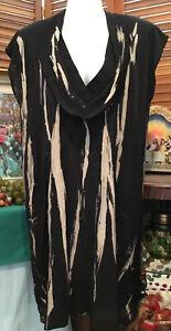 Philosophy black taupe cowl neck short sleeve Shift Dress 10