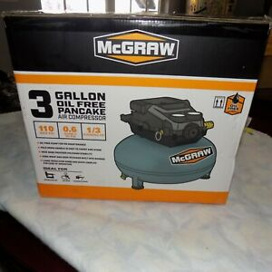 NEW McGRAW Air 3 Gallon Roofing 100 PSI Pancake Mini Portable 3 Gal Compressor