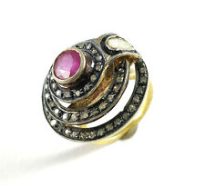 Vintage Natural Polki Pave Diamond 925 Silver Ruby Gemstone Stackable Halo Rings