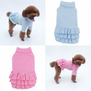 Winter Warm Pet Dog Dress Sweater Clothes Solid Color Cute Small Cat Puppy Skirt