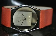 Men's Philippe Starck With Fossil Gold Dial Red Genuine Leather Watch PH-6004