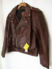 Warrior Mens Classic Cowhide Brando Perfecto Brown Motorcycle Leather Jacket Med