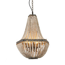 5 Lights Wood Bead Chandelier Pendant Ceiling Lamp Gray White Finishing Rustic