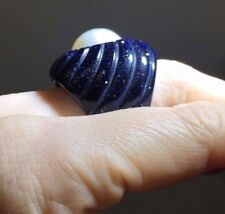 Fabulous Midnight Blue Sparkly Carved Goldstone and Mabe Pearl Ring Size 7