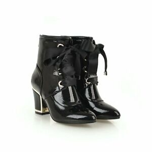 Womens Patent Leather Ankle Boots Lace Up Block High Heel Booties Zip US4.5-10.5