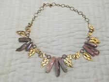 Anthropologie Pat's necklace golden brass leaf wreath agate natural stone