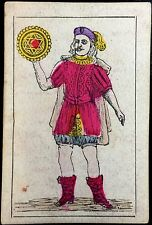 1868 Artisan Stencil Painted Spanish Naipes Antique Playing Cards Cadiz Single