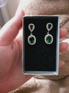 Green Emerald With Imitation Diamonds 925 Sterling Silver Earrings