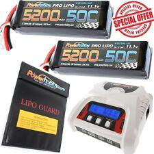 Powerhobby 3S 5200mAh 50C Lipo Battery EC5 x2 + Venom 0683 Charger COMBO BAG