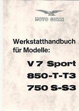 Moto Guzzi taller de mano libro/instrucciones de reparación 850 t3/v7 Sport 750 s s3 nuevo