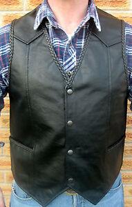 Mens Black Leather Biker Waistcoat Vest Cut Braided