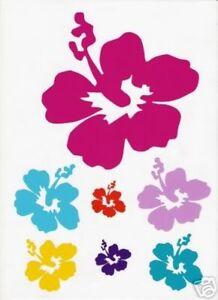 3 x Hibiscus Hawaiian Flower Sticker Sets for Renault Clio Car Bongo Camper Fiat