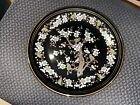 """Gold Decorative Hand Painted Black Plate From Greece - 13"""" diameter"""