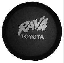 "Spare Tire Cover 27""-29"" For TOYOTA RAV4 Silver Logo Black Heavy Denim Vinyl"